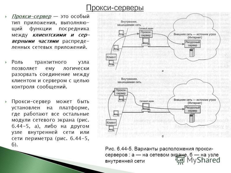 Прокси-сервер это особый тип приложения, выполняющий функции посредника между клиентскими и сер- верными частями распределенных сетевых приложений. Роль транзитного узла позволяет ему логически разорвать соединение между клиентом и сервером с целью к