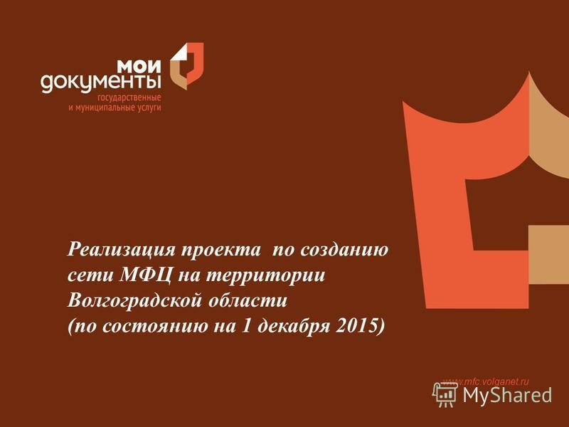 www.mfc.volganet.ru Реализация проекта по созданию сети МФЦ на территории Волгоградской области (по состоянию на 1 декабря 2015)