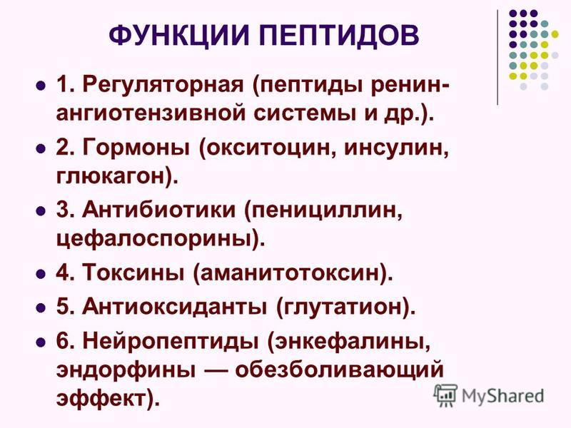 ФУНКЦИИ ПЕПТИДОВ 1. Регуляторная (пептиды ренин- ангиотензивной системы и др.). 2. Гормоны (окситоцин, инсулин, глюкагон). 3. Антибиотики (пенициллин, цефалоспорины). 4. Токсины (аманитотоксин). 5. Антиоксиданты (грутатион). 6. Нейропептиды (энкефали