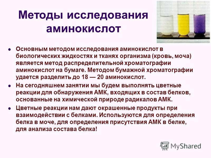 Методы исследования аминокислот Основным методом исследования аминокислот в биологических жидкостях и тканях организма (кровь, моча) является метод распределительной хроматографии аминокислот на бумаге. Методом бумажной хроматографии удается разделит