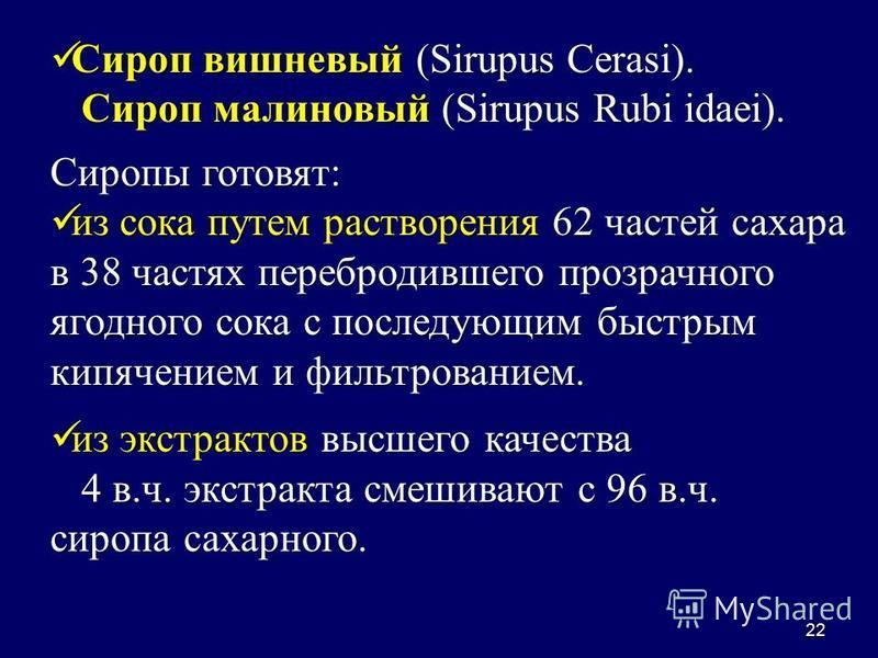 22 Сироп вишневый (Sirupus Cerasi). Сироп вишневый (Sirupus Cerasi). Сироп малиновый (Sirupus Rubi idaei). Сироп малиновый (Sirupus Rubi idaei). Сиропы готовят: из сока путем растворения 62 частей сахара в 38 частях перебродившего прозрачного ягодног
