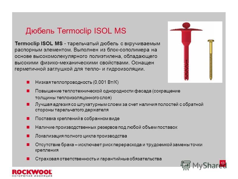 13 Дюбель Termoclip ISOL MS Низкая теплопроводность (0,001 Вт/К) Повышение теплотехнической однородности фасада (сокращение толщины теплоизоляционного слоя) Лучшая адгезия со штукатурным слоем за счет наличия полостей с обратной стороны тарельчатого