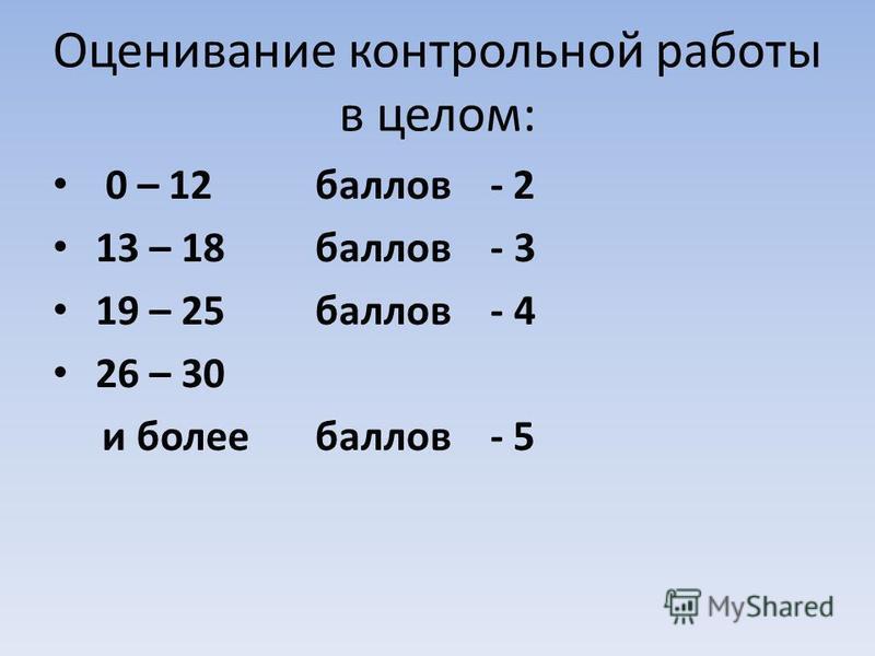 Оценивание контрольной работы в целом: 0 – 12 баллов - 2 13 – 18 баллов - 3 19 – 25 баллов - 4 26 – 30 и более баллов - 5