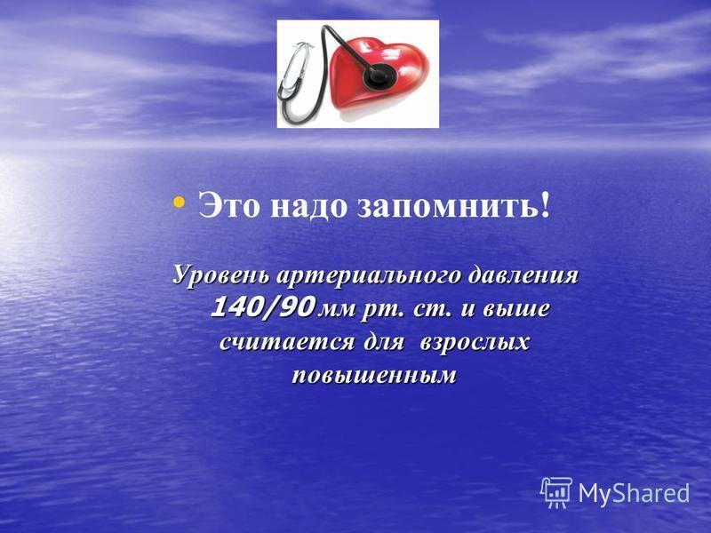 Уровень артериального давления 140/90 мм рт. ст. и выше считается для взрослых повышенным Это надо запомнить! Уровень артериального давления 140/90 мм рт. ст. и выше считается для взрослых повышенным