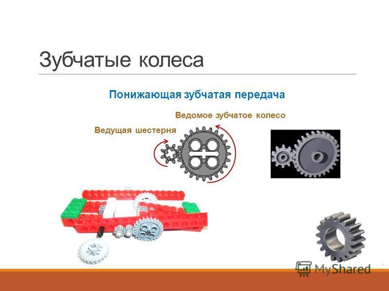 Зубчатые колеса Понижающая зубчатая передача Ведущая шестерня Ведомое зубчатое колесо