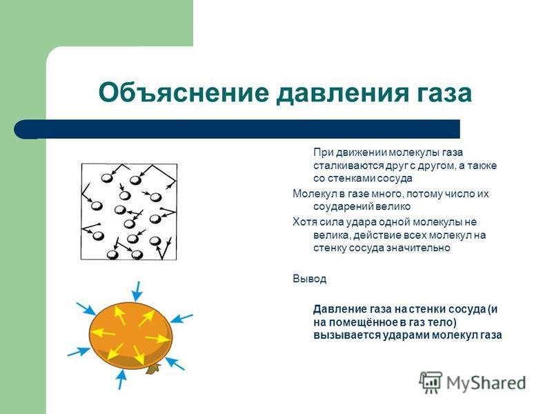 Объяснение давления газа При движении молекулы газа сталкиваются друг с другом, а также со стенками сосуда Молекул в газе много, потому число их соударений велико Хотя сила удара одной молекулы не велика, действие всех молекул на стенку сосуда значит