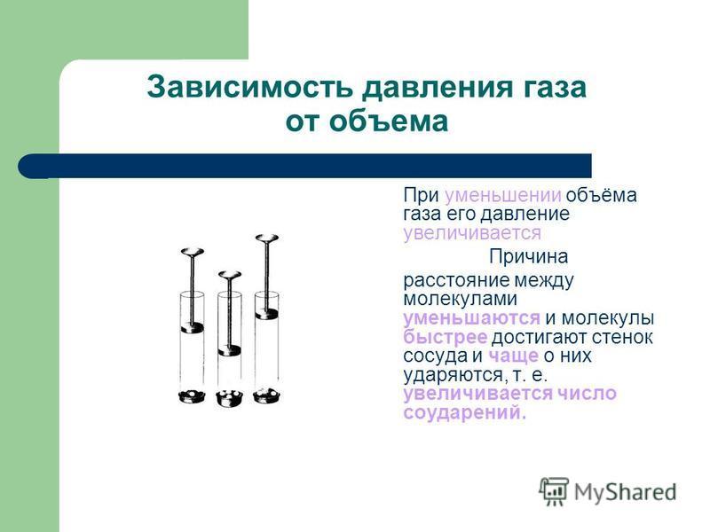 Зависимость давления газа от объема При уменьшении объёма газа его давление увеличивается Причина расстояние между молекулами уменьшаются и молекулы быстрее достигают стенок сосуда и чаще о них ударяются, т. е. увеличивается число соударений.