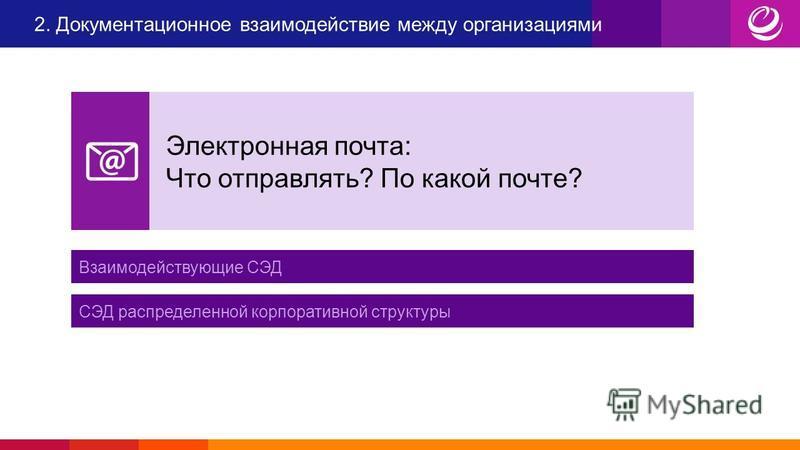 Взаимодействующие СЭД СЭД распределенной корпоративной структуры Электронная почта: Что отправлять? По какой почте?