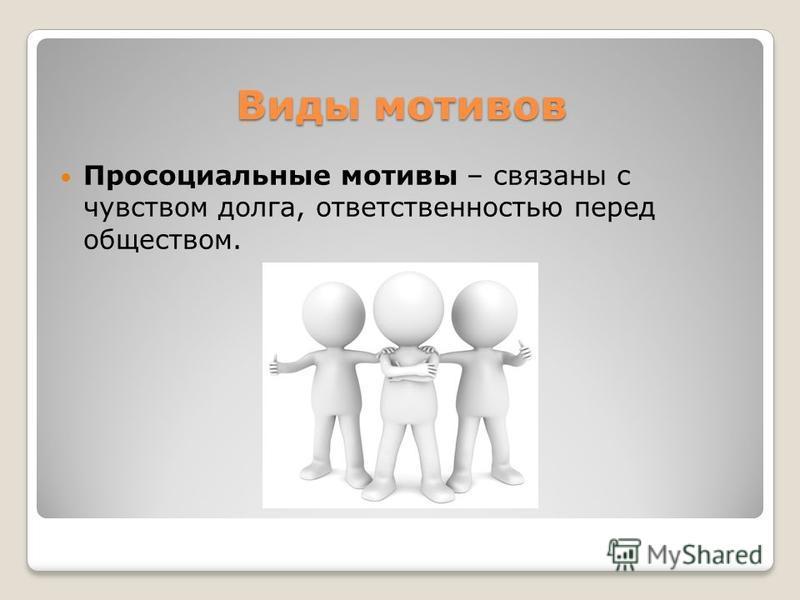 Виды мотивов Просоциальные мотивы – связаны с чувством долга, ответственностью перед обществом.
