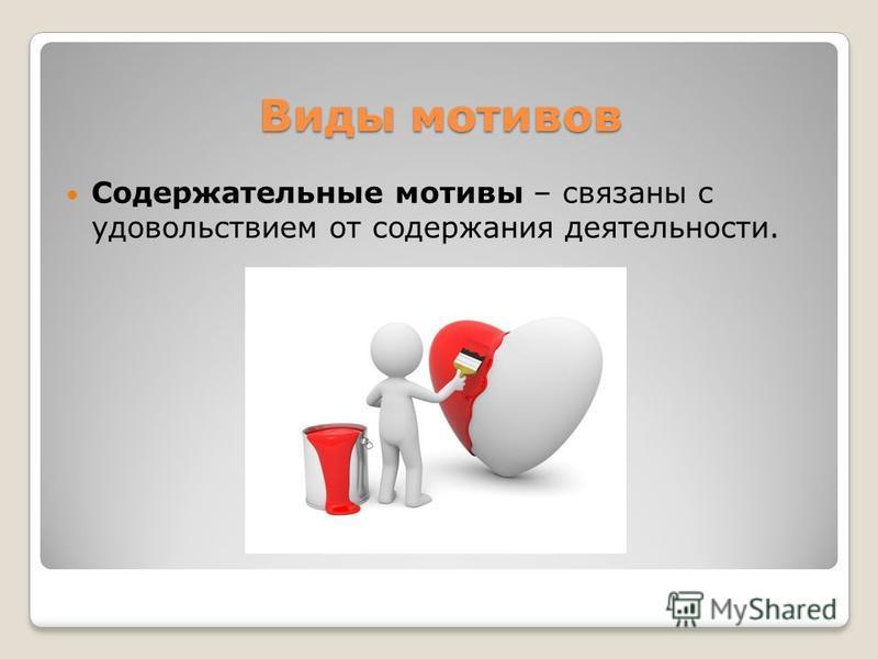 Виды мотивов Содержательные мотивы – связаны с удовольствием от содержания деятельности.