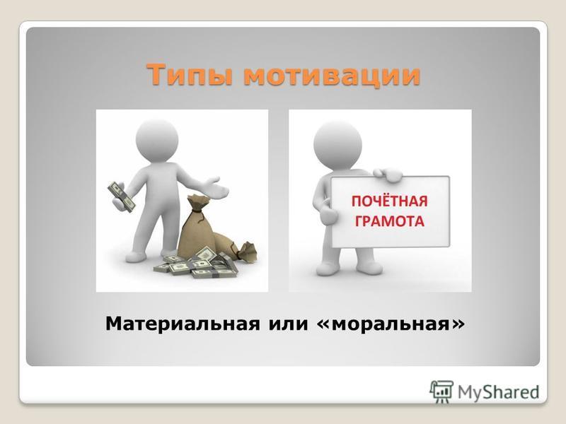Типы мотивации Материальная или «моральная»