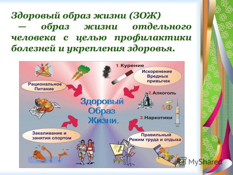 Здоровый образ жизни (ЗОЖ) образ жизни отдельного человека с целью профилактики болезней и укрепления здоровья.