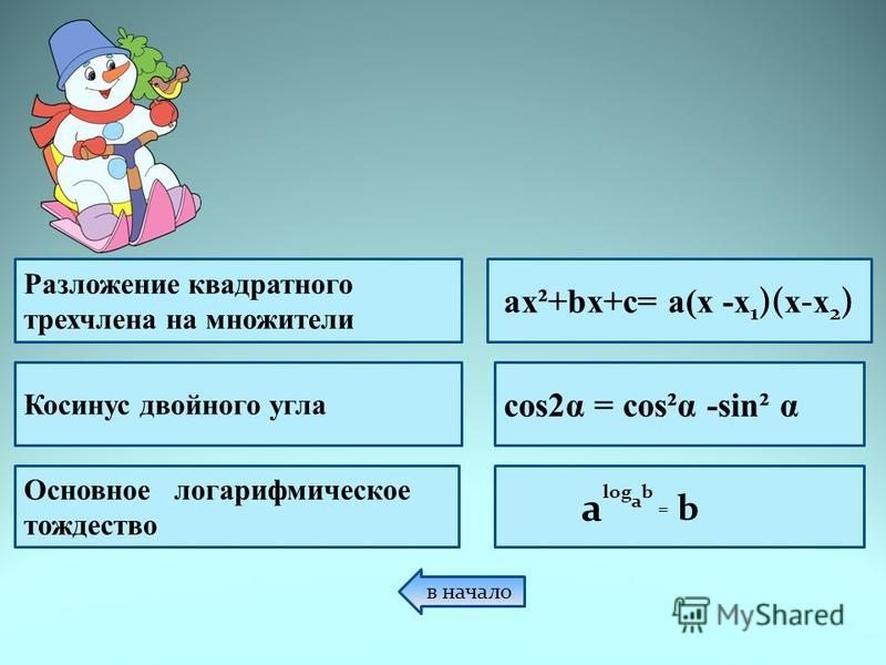 a log a b = b Разложение квадратного трехчлена на множители Косинус двойного угла Основное логарифмическое тождество ax²+bx+c= a(x -x 1 )( x - x 2 ) cos2α = cos²α -sing α в начало