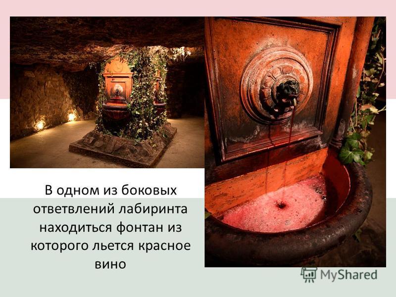 В одном из боковых ответвлений лабиринта находиться фонтан из которого льется красное вино