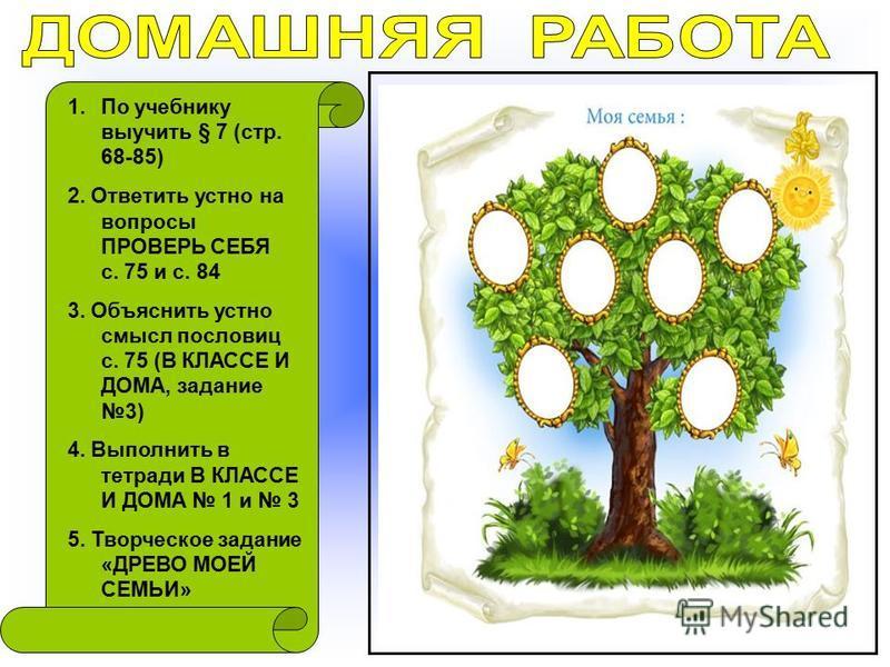1. По учебнику выучить § 7 (стр. 68-85) 2. Ответить устно на вопросы ПРОВЕРЬ СЕБЯ с. 75 и с. 84 3. Объяснить устно смысл пословиц с. 75 (В КЛАССЕ И ДОМА, задание 3) 4. Выполнить в тетради В КЛАССЕ И ДОМА 1 и 3 5. Творческое задание «ДРЕВО МОЕЙ СЕМЬИ»