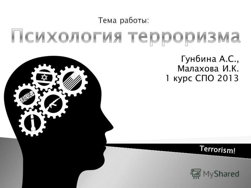 Гунбина А.С., Малахова И.К. 1 курс СПО 2013