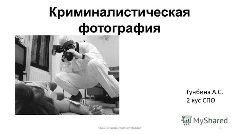 Криминалистическая фотография Гунбина А.С. 2 кус СПО Криминалистическая фотография 1