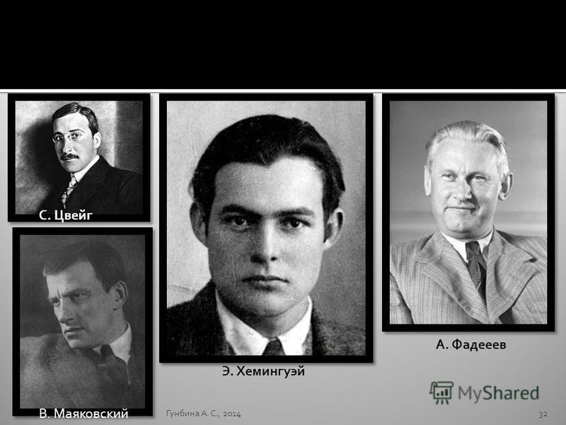 Гунбина А. С., 201432 А. Фадееев С. Цвейг В. Маяковский Э. Хемингуэй