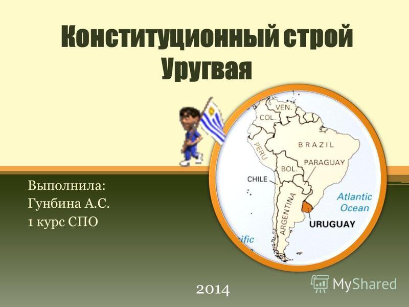 Конституционный строй Уругвая Выполнила: Гунбина А.С. 1 курс СПО 2014