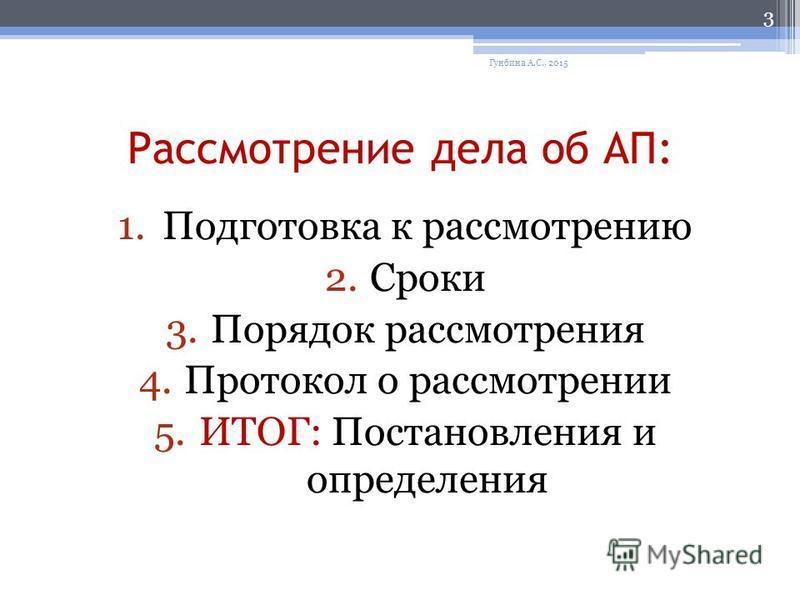 Рассмотрение дела об АП: 1. Подготовка к рассмотрению 2. Сроки 3. Порядок рассмотрения 4. Протокол о рассмотрении 5.ИТОГ: Постановления и определения Гунбина А.С., 2015 3