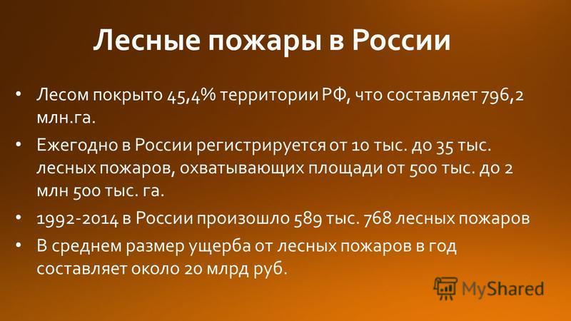 Лесные пожары в России Лесом покрыто 45,4% территории РФ, что составляет 796,2 млн.га. Ежегодно в России регистрируется от 10 тыс. до 35 тыс. лесных пожаров, охватывающих площади от 500 тыс. до 2 млн 500 тыс. га. 1992-2014 в России произошло 589 тыс.