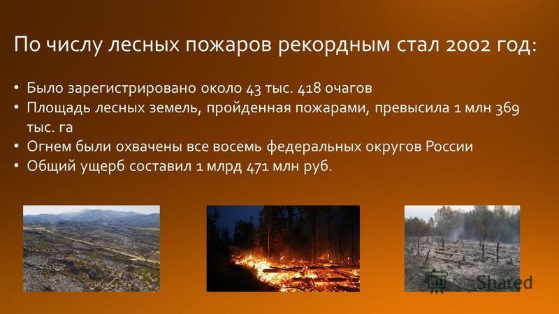 По числу лесных пожаров рекордным стал 2002 год: Было зарегистрировано около 43 тыс. 418 очагов Площадь лесных земель, пройденная пожарами, превысила 1 млн 369 тыс. га Огнем были охвачены все восемь федеральных округов России Общий ущерб составил 1 м