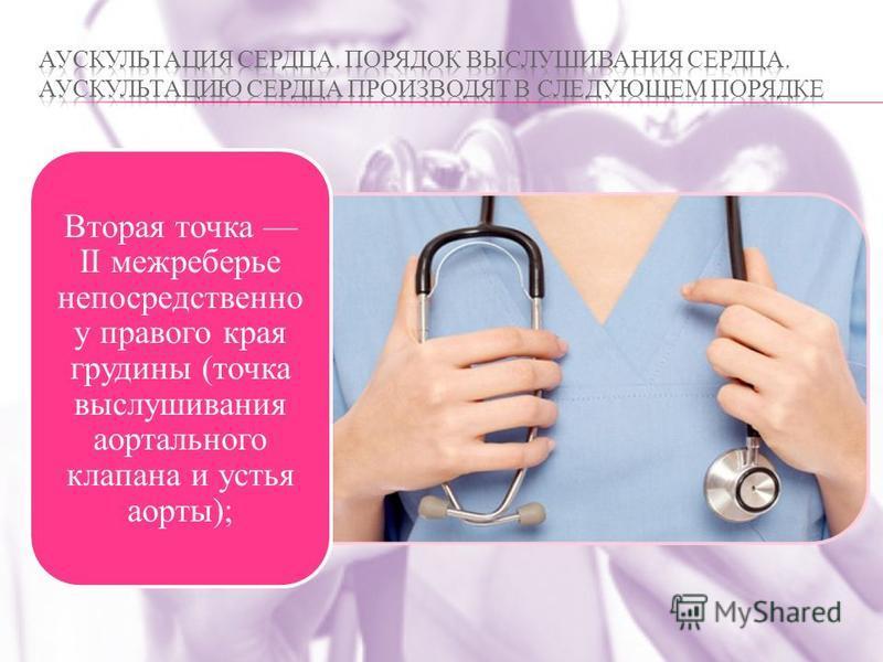Вторая точка II межреберье непосредственно у правого края грудины (точка выслушивания аортального клапана и устья аорты);