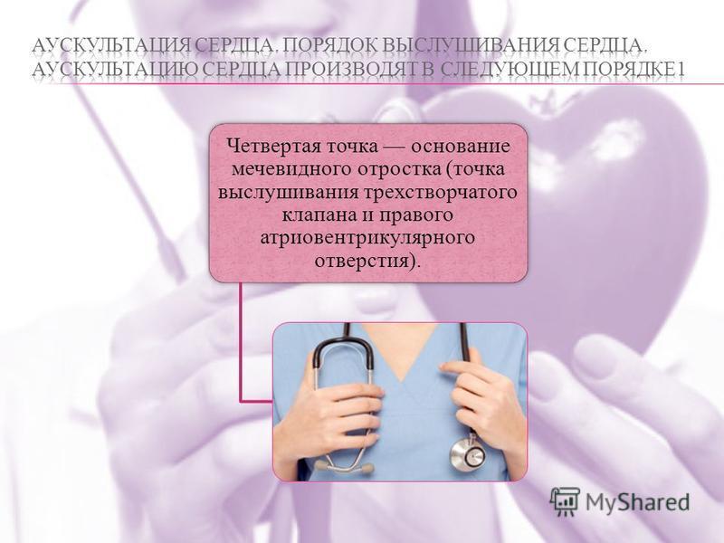 Четвертая точка основание мечевидного отростка (точка выслушивания трехстворчатого клапана и правого атриовентрикулярного отверстия).