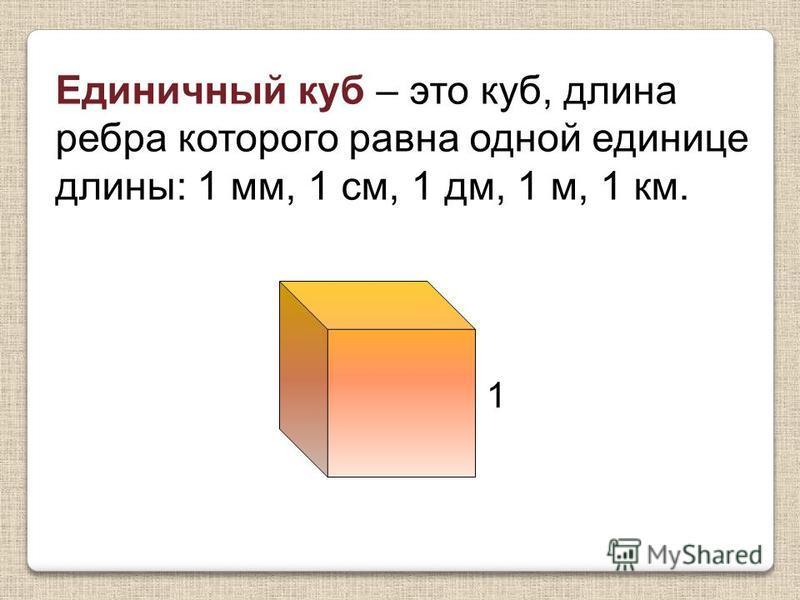 Единичный куб – это куб, длина ребра которого равна одной единице длины: 1 мм, 1 см, 1 дм, 1 м, 1 км. 1