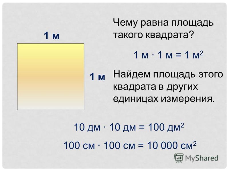 1 м Чему равна площадь такого квадрата? 1 м · 1 м = 1 м 2 Найдем площадь этого квадрата в других единицах измерения. 10 дм · 10 дм = 100 дм 2 100 см · 100 см = 10 000 см 2