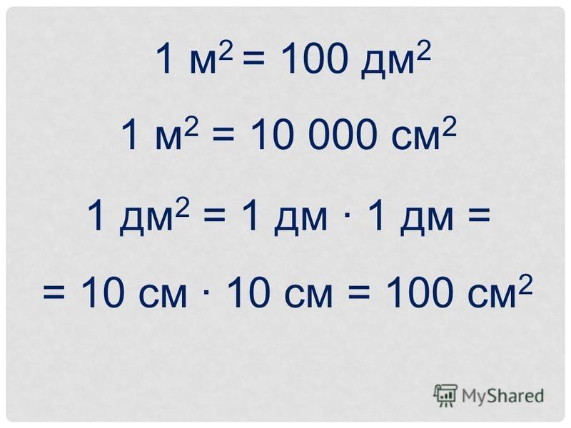 1 м 2 = 100 дм 2 1 м 2 = 10 000 см 2 1 дм 2 = 1 дм · 1 дм = = 10 см · 10 см = 100 см 2