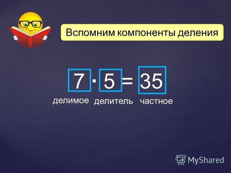 Вспомним компоненты деления 7 5 = 35 делимое делитель частное