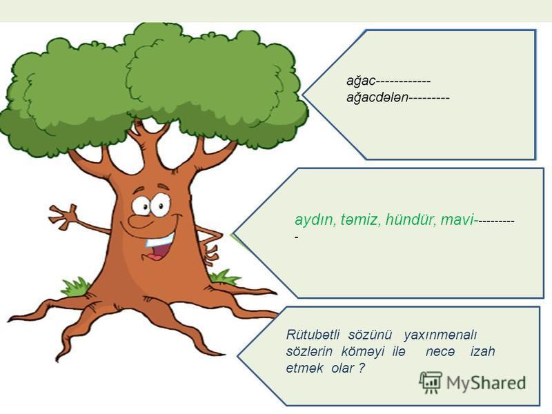 ağac------------ ağacdələn--------- aydın, təmiz, hündür, mavi- --------- - Rütubətli sözünü yaxınmənalı sözlərin köməyi ilə necə izah etmək olar ?