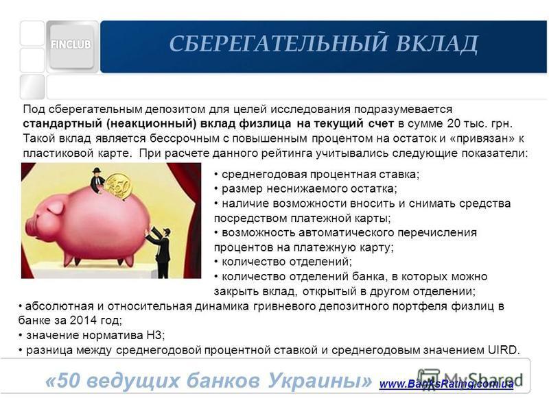 «50 ведущих банков Украины» www.BanksRating.com.ua www.BanksRating.com.ua СБЕРЕГАТЕЛЬНЫЙ ВКЛАД среднегодовая процентная ставка; размер неснижаемого остатка; наличие возможности вносить и снимать средства посредством платежной карты; возможность автом