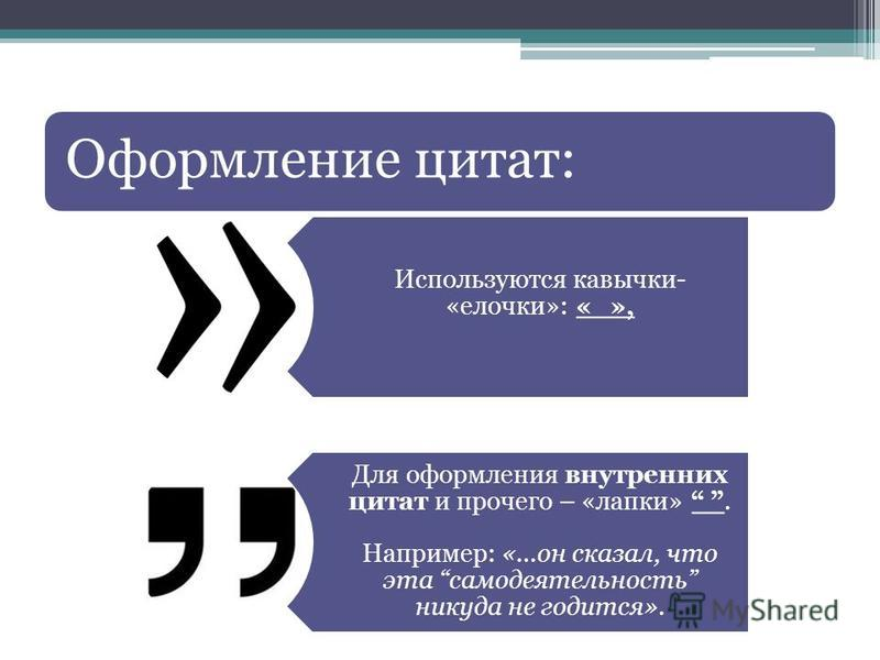Оформление цитат: Используются кавычки- «елочки»: « », Для оформления внутренних цитат и прочего – «лапки». Например: «…он сказал, что эта самодеятельность никуда не годится».