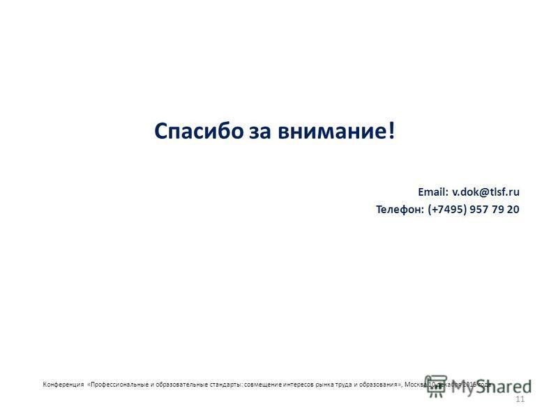 Конференция «Профессиональные и образовательные стандарты: совмещение интересов рынка труда и образования», Москва 10 декабря 2015 года Спасибо за внимание! Email: v.dok@tlsf.ru Телефон: (+7495) 957 79 20 11