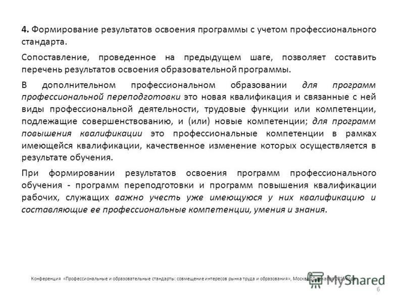 Конференция «Профессиональные и образовательные стандарты: совмещение интересов рынка труда и образования», Москва 10 декабря 2015 года 4. Формирование результатов освоения программы с учетом профессионального стандарта. Сопоставление, проведенное на