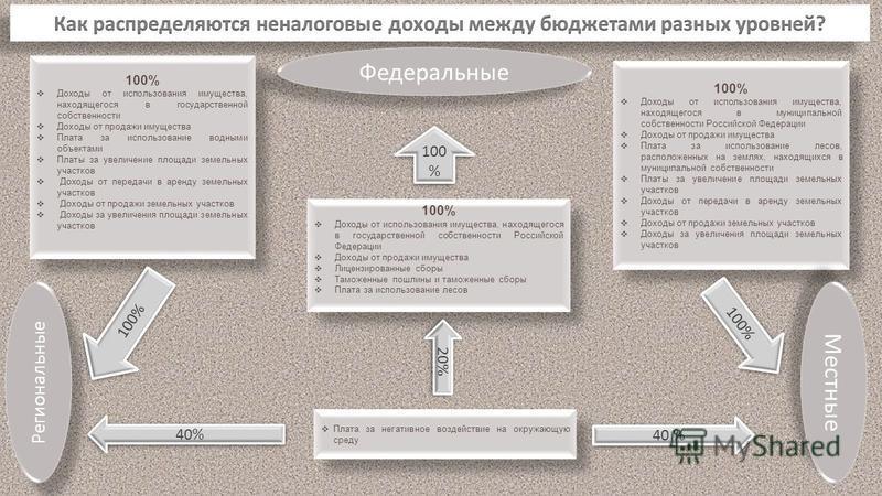 Доходы от использования имущества, находящегося в государственной собственности Российской Федерации Доходы от продажи имущества Лицензированные сборы Таможенные пошлины и таможенные сборы Плата за использование лесов 100% Доходы от использования иму