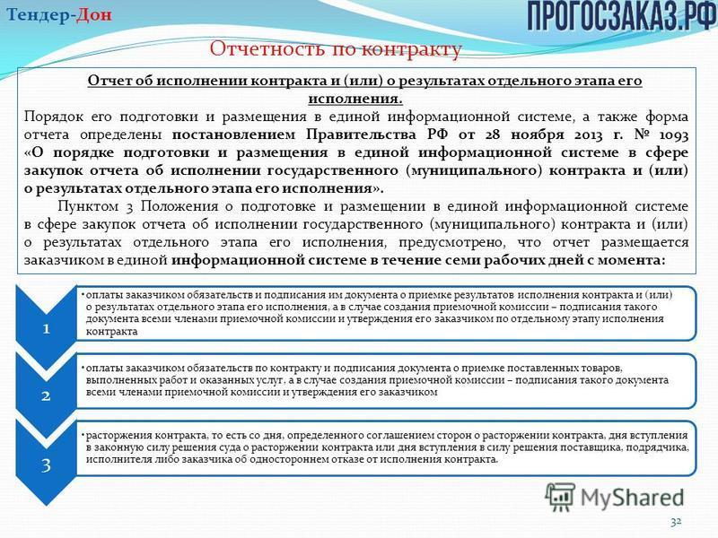 Отчетность по контракту 32 Отчет об исполнении контракта и (или) о результатах отдельного этапа его исполнения. Порядок его подготовки и размещения в единой информационной системе, а также форма отчета определены постановлением Правительства РФ от 28