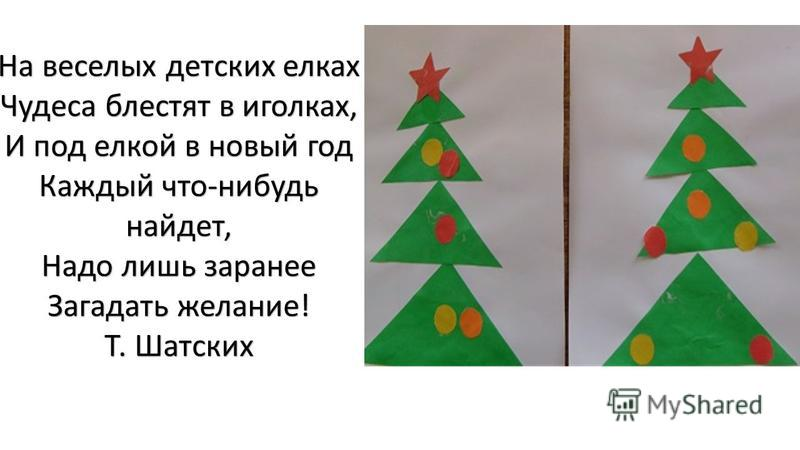 На веселых детских елках Чудеса блестят в иголках, И под елкой в новый год Каждый что-нибудь найдет, Надо лишь заранее Загадать желание! Т. Шатских
