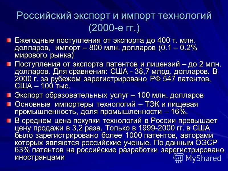 Российский экспорт и импорт технологий (2000-е гг.) Ежегодные поступления от экспорта до 400 т. млн. долларов, импорт – 800 млн. долларов (0.1 – 0.2% мирового рынка) Поступления от экспорта патентов и лицензий – до 2 млн. долларов. Для сравнения: США
