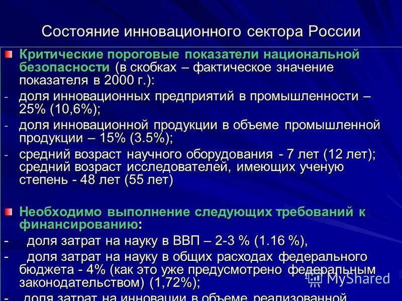 Состояние инновационного сектора России Критические пороговые показатели национальной безопасности (в скобках – фактическое значение показателя в 2000 г.): - доля инновационных предприятий в промышленности – 25% (10,6%); - доля инновационной продукци