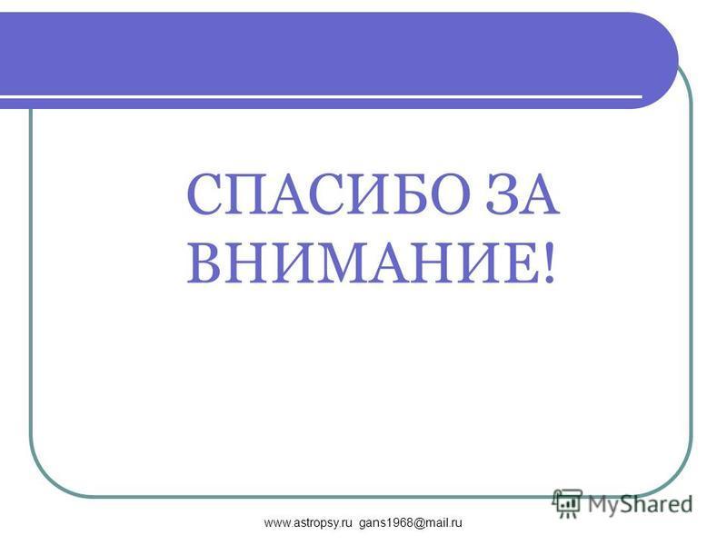www.astropsy.ru gans1968@mail.ru СПАСИБО ЗА ВНИМАНИЕ!