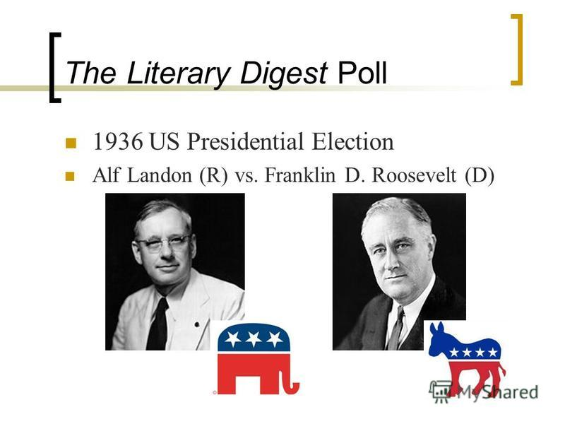 The Literary Digest Poll 1936 US Presidential Election Alf Landon (R) vs. Franklin D. Roosevelt (D)