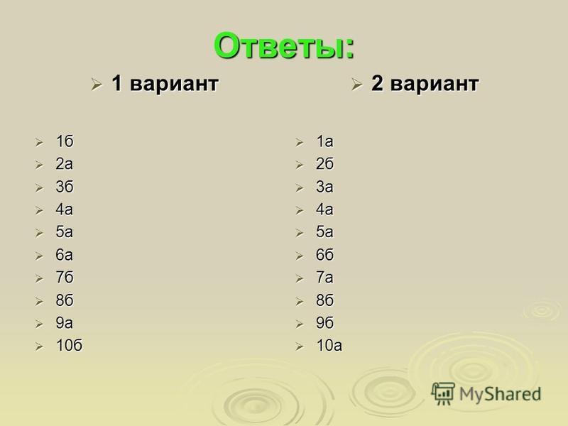 Ответы: 1 вариант 1 вариант 1 б 1 б 2 а 2 а 3 б 3 б 4 а 4 а 5 а 5 а 6 а 6 а 7 б 7 б 8 б 8 б 9 а 9 а 10 б 10 б 2 вариант 2 вариант 1 а 1 а 2 б 2 б 3 а 3 а 4 а 4 а 5 а 5 а 6 б 6 б 7 а 7 а 8 б 8 б 9 б 9 б 10 а 10 а