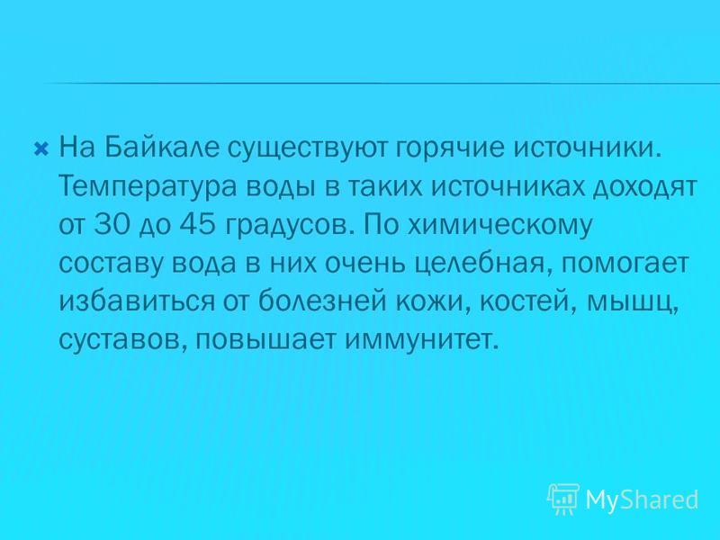 На Байкале существуют горячие источники. Температура воды в таких источниках доходят от 30 до 45 градусов. По химическому составу вода в них очень целебная, помогает избавиться от болезней кожи, костей, мышц, суставов, повышает иммунитет.