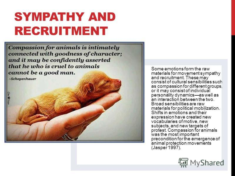 SYMPATHY AND RECRUITMENT Some emotions form the raw materials for movement sympathy and recruitment. These may consist of cultural sensibilities such as compassion for different groups, or it may consist of individual personality dynamicsas well as a