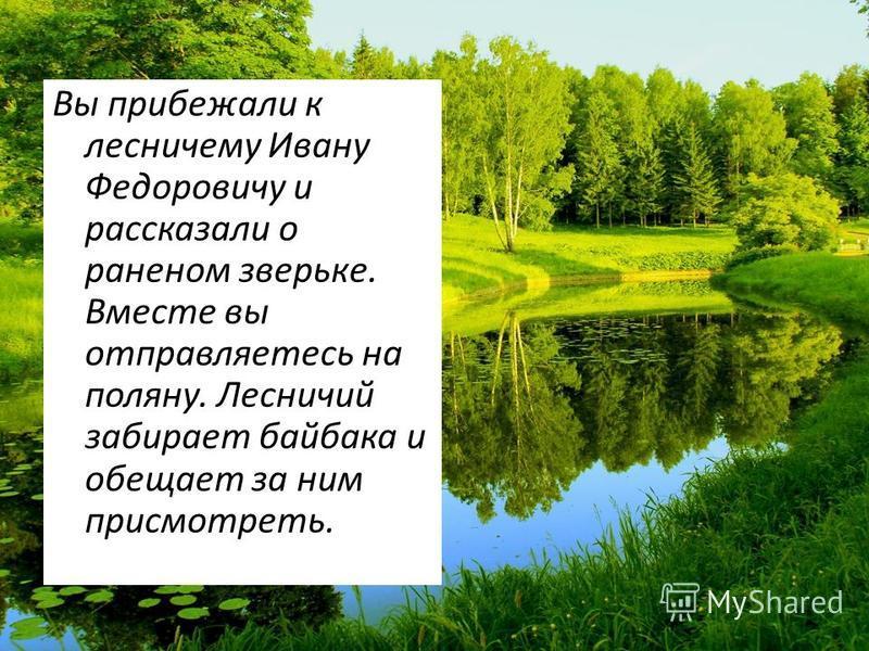 Вы прибежали к лесничему Ивану Федоровичу и рассказали о раненом зверьке. Вместе вы отправляетесь на поляну. Лесничий забирает байбака и обещает за ним присмотреть.
