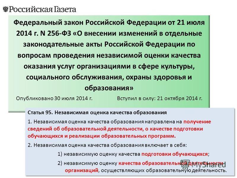 Федеральный закон Российской Федерации от 21 июля 2014 г. N 256-ФЗ «О в несении изменений в отдельные законодательные акты Российской Федерации по вопросам проведения независимой оценки качества оказания услуг организациями в сфере культуры, социальн