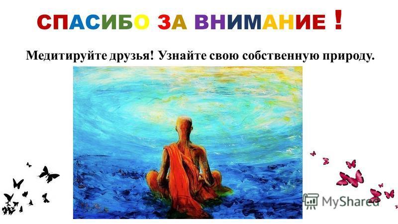 СПАСИБО ЗА ВНИМАНИЕ ! Медитируйте друзья! Узнайте свою собственную природу.